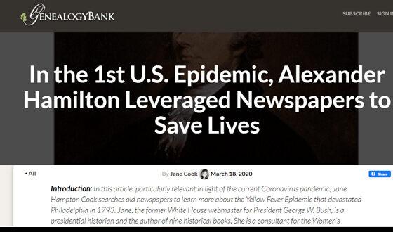 Hamilton Epidemic GenealogyBank.com