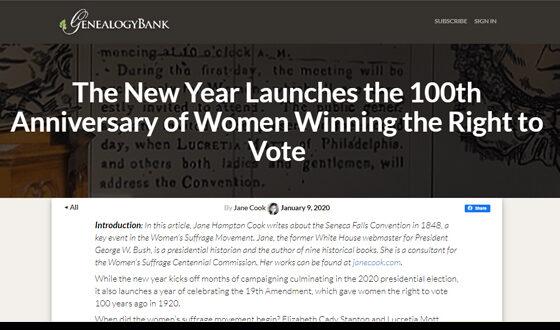 New Year's Suffrage GenealogyBank.com