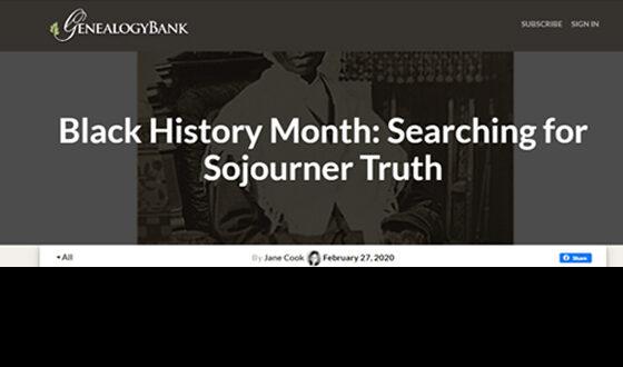 Sojourner Truth GenealogyBank.com